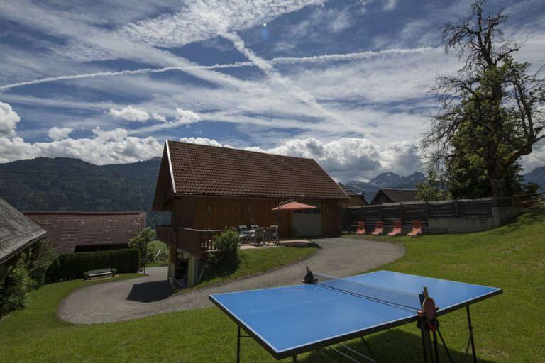 Ferienwohnung Waldner Sitzplatz Tischtennis